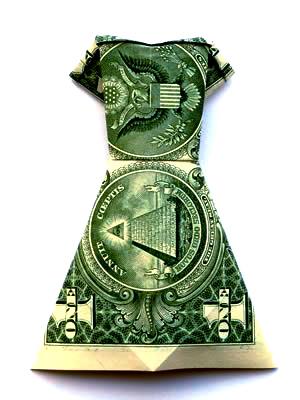 money-origami-dress-green